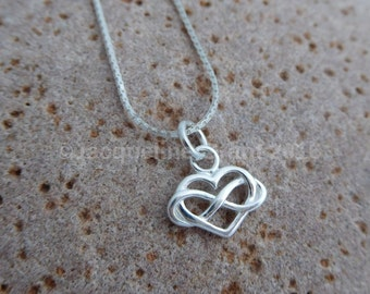 Sterling Silver Infinity Heart Charm Necklace-Anniversary-Birthday-New Mum-Valentine's-Mother's Day-Bride necklace-Bridesmaid necklace