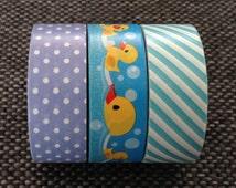 3 Assorted SET 3 Rolls 3 Designs - Washi Tape - Deco Tape - Masking Tape - W15mm L250cm