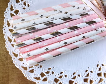 Twinkle Little Star Paper Straws, Set of 25, Silver and Pink First Birthday, Pink and Gold Birthday