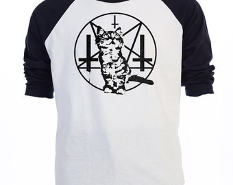 PURRRRR EVIL, Satanic Cat,Kitten Baphomet,Baseball Shirt T-830Ivy