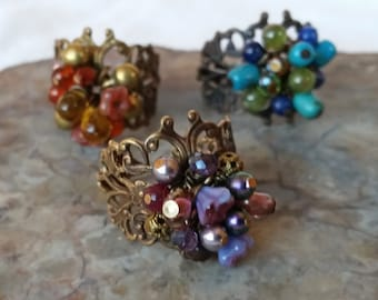 Filigree Bouquet Rings, Solid Brass, Colorful Glass, Pearl, Stone, Brass Filigree Ring, Beaded Ring