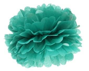 Pom Pom, Tissue Paper Pom Pom Ball, Tissue Paper Pompoms, Teal Pom Poms, Wedding Backdrop, Birthday Party Hanging Poms, Bridal Shower Decor