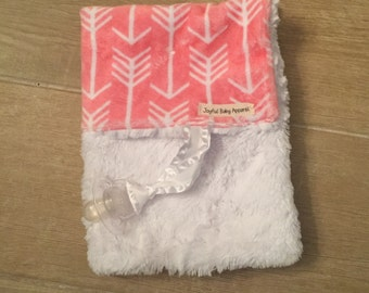 pink arrows minky binky blanket, pacifier blanket