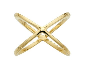 14k Yellow Gold X Ring