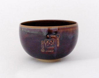 Bluish brown bowl, with flower, stoneware
