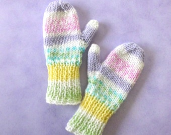 Girls Spring Hand Knit Mittens/Light Weight/Child Size 2/Free Shipping to Canada and US