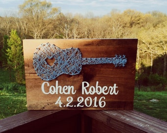 Guitar string art, guitar decor, string art nursery, music art guitar baby shower guitar baby new baby gift,new baby boy gift, new baby girl