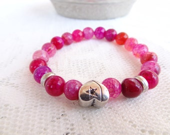 EXPRESS SHIPPING,Fuchsia Agate Bracelet,Heart Bracelet,Stone Jewelry,Stretch Bracelet,Yoga,Meditation,Beaded,Gift for Her,Mother's Day Gifts