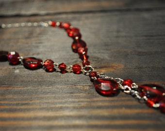 Ruby Red, Semi Precious Jewelry, Beaded Necklace, Teardrop Necklace, Dangle Cluster Necklace, Trendy Jewelry, Modern, Unique, Y Necklace,
