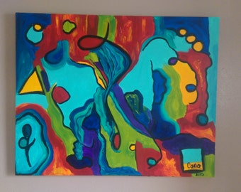 Original Abstract Acrylic on Canvas signed