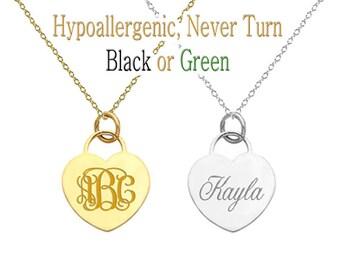 Custom Name Necklace, Monogram Necklace, Personalized Monogram Necklace, Name Necklace, Initial Necklace, Heart Pendant, bridesmaid gift