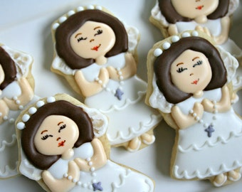 Communion Cookies-Little Girl Confirmation Cookies, Baptism Cookies