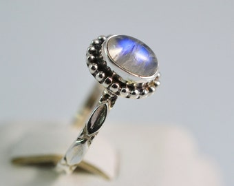 Pure 925 Sterling Solid Silver Ring Studded with Genuine Rainbow Moonstone Oval Custom US Sizes Available 4 to 13