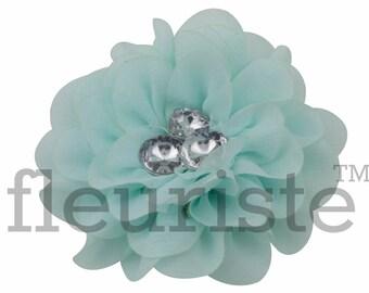 """AQUA Chiffon Flower, Rhinestone Flower, Wholesale Flower, Fabric Flower, Headband Flower, Flower Embellishment,  Diy Flower 3"""", 3 PC"""