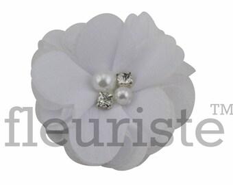 "WHITE 2"" Chiffon Flower, Wholesale Flower, Fabric Flower, Headband Flower, Wedding Flower, Flower Embellishment, Diy Flower, Headband"