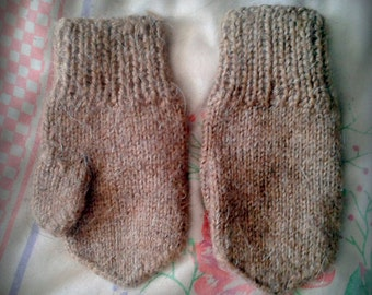 mittens, knitted mittens, brown, baby mittens, wool, warm, handmade, the USSR, and white mittens 1980