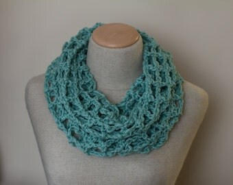 Lacy infinity scarf, cotton/linen scarf, knit infinity scarf, circle scarf, loop scarf, fishnet scarf, vegan clothing, bridesmaid gift