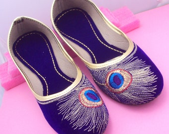 Blue Peacock Shoes/Gold Shoes/Blue Flats/Ethnic Shoes/Velvet Shoes/Handmade Indian Designer Women Shoes/Maharaja Style Women Jooti