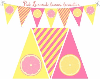 Pink Lemonade Decorations, Pink lemonade banner, Pink and yellow banner, Pink Lemonade birthday, Lemon Stand decor, Digital File.