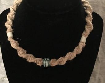 Hemp necklace. Glass bead enhanced.