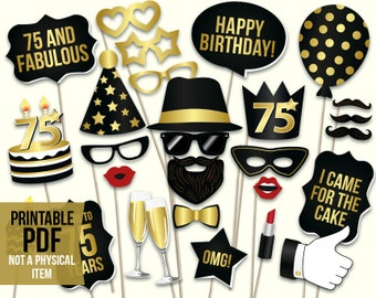 75th birthday photo booth props: printable PDF. Black and gold seventy fifth birthday party supplies. Instant download, digital download