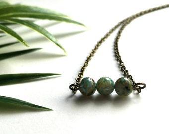 Elegant Minimalist Bead Bar Necklace With Antique Brass Chain