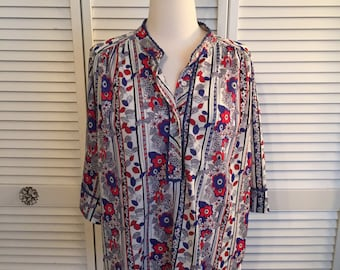 1970s polyester boho patriotic floral blouse