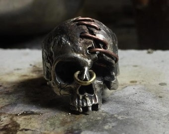 Sewed forehead Sterling silver skull ring