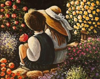 Premier amour, 16po.x20po., artiste peintre Mariana Flores,art figuratif naïf,oeuvre unique et originale.