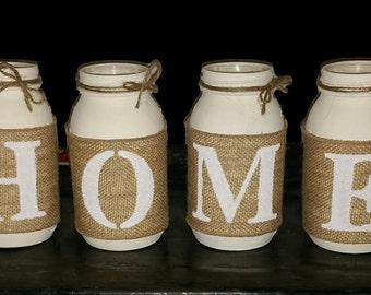 Mason Jar Centerpiece - Home Decor - Painted Mason Jars - Home Centerpiece