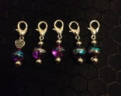 Handmade Purple, Blue and Silver Knitting/Crochet Stitch Markers x 5