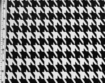 Black and White Hound Tooth Polyester Spandex Lycra Fabric Bright High Quality 4-Way Stretch