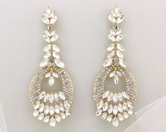 Bridal Earrings,Gold Crystal Chandelier Earrings,Bridesmaid Wedding Earrings Gift Jewelry,Dangle Earrings,Prom Earrings,Vintage Style