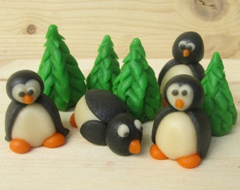Marzipan Christmas Penguins (4) and Christmas Trees (4) - 3D penguin cake topper - fondant Christmas penguins - Christmas cake decorations