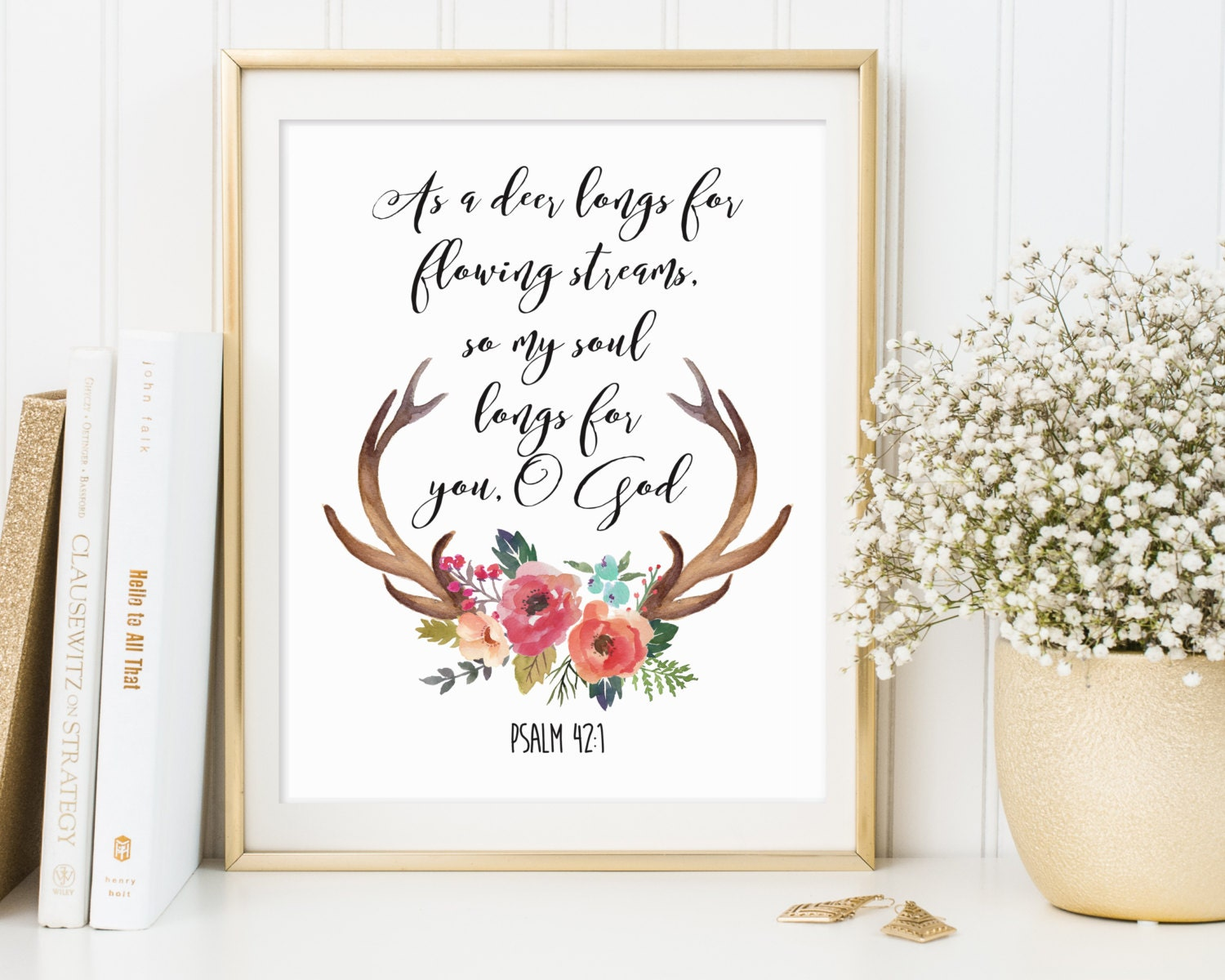 Psalm 421 bible wall art antlers printable antlers print zoom amipublicfo Images
