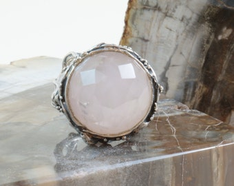 Rose Quartz ring Sterling Silver 925 Made in Italy