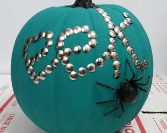 "Teal ""EEK"" pumpkin with spider (item Q)"