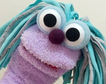 purple sock puppet, hand puppet, moving mouth puppet, therapy and educational puppet