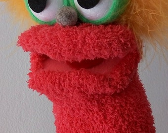 pink puppet, hand puppet, moving mouth puppet, therapy and educational puppet