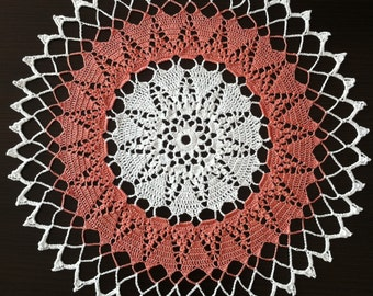 Hearts in Rounds - Handmade Crochet Lace Doily/Wall Decoration/Tablecloth (White, Pink)