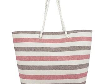 Striped Canvas Beach Bag -Hand Bag - Inside Lining, Inner Pocket, Top Handle - Eco Friendly