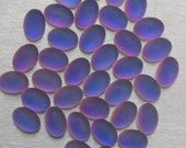 14X10mm Oval Purple/Blue Matte Multi Glass Cabochon - Foiled and Coated - Flat Back and Medium Dome - Sold as Four (4)