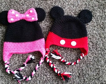 Crochet Minnie Mouse Hat/Crochet Mickey Mouse Hat/Mickey Mouse Hat/Minnie hat/baby Minnie Mouse hat/crochet baby Minnie hat/baby mickey hat