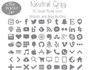 Grey Social Media Icons in Grey Finish.  Neutral Gray Social Icons, Blog Icons, Website Buttons, Commercial Use