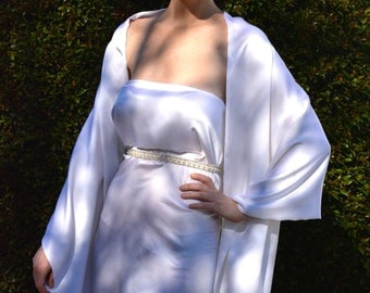 White bridal shawl, white silk shawl, silk shrug, silk scarf, white silk wrap