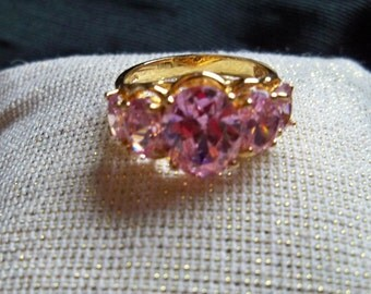 Pink Ring, Bright Pink Ring , Signed Ring, Bright Pink Ring, Size 6 Ring, Sterling Ring