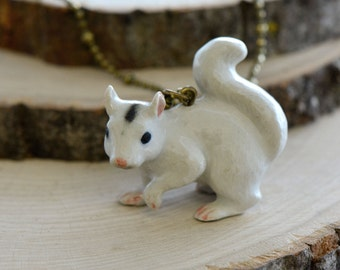 Hand Painted Porcelain White Squirrel Necklace, Antique Bronze Chain, Vintage Style Albino Chipmunk, Ceramic Animal Pendant & Chain (CA018)