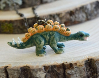 Hand Painted Porcelain Stegosaurus Necklace, Antique Bronze Chain, Vintage Style Dinosaur, Ceramic Animal Pendant & Chain (CA093)