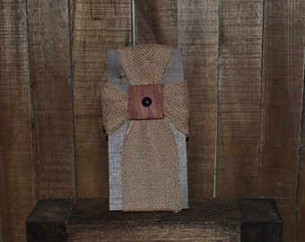 Large Burlap Cross with Shield
