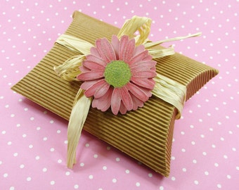 """Cardboard - Corrugated Pillow Boxes XL 5 x 4 x 1 2/8"""", Qty 5 10 20 25, Craft Boxes, Craft Supplies, Packaging Boxes, Favor Boxes, DIY"""